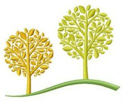 Two autumn trees embroidery design