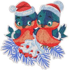 Two Christmas birds embroidery design