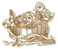 Two ducklings in box embroidery design