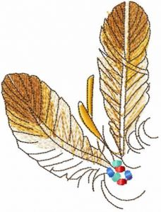 Two feathers embroidery design