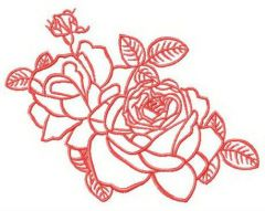 Two fresh roses embroidery design