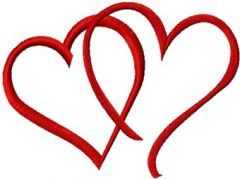 Valentine's Day Two Hearts embroidery design
