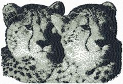Two snow leopards embroidery design