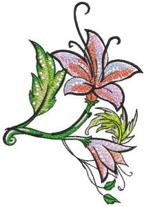 Two lily flowers embroidery design