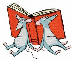 Two rats readers embroidery design