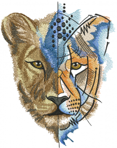 Unreal lion embroidery design
