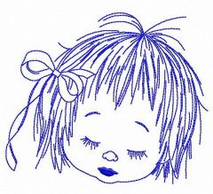 Upset child's face embroidery design