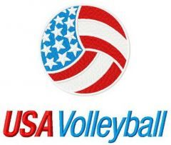 USA volleyball embroidery design