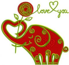 Valentine's Day Funny Elephant embroidery design