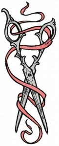 Vintage scissors and ribbon 2 embroidery design