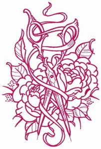 Vintage scissors and ribbon embroidery design 3
