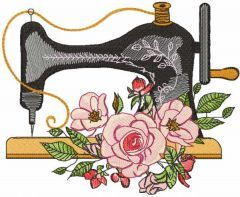 Vintage sewing machine with roses embroidery design