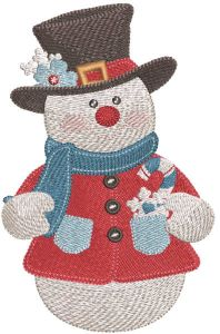 Vintage snowman in top hat embroidery design