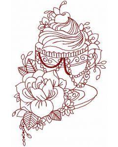 Vintage tea time redwork embroidery design