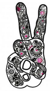 Victory symbol 2 embroidery design