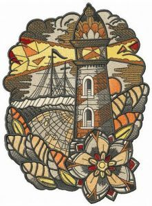 Voyage collage embroidery design