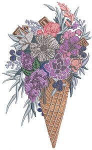 Waffle cone with bouquet of beautiful flowers embroidery design