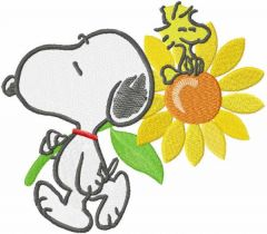 Snoopy with sunflower embroidery design