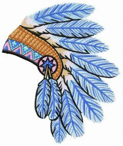 Warbonnet from blue feathers embroidery design