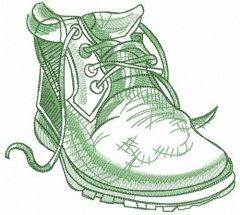 Warm green shoe embroidery design