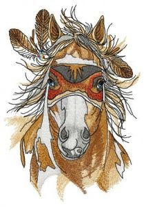 Warrior's horse embroidery design