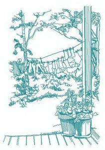 Washing in the countryside embroidery design