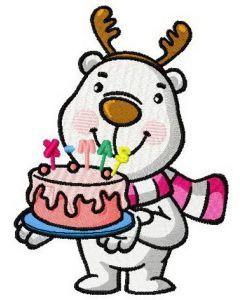 White bear with X-Mas cake machine embroidery design