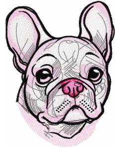 White french bulldog embroidery design 2