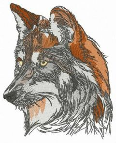 Forest wolf embroidery design