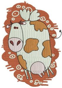 Winged cow machine embroidery design