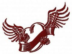 Winged heart embroidery design 3