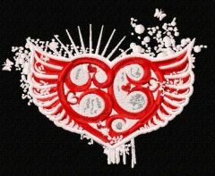 Winged heart 4 embroidery design