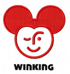 Winking Mickey embroidery design