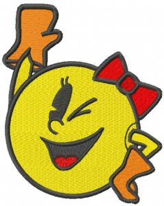 Winking pacman girl embroidery design