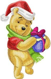 Winnie Pooh with Christmas Honey embroidery design