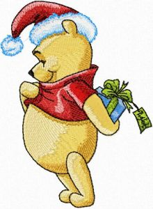 Winnie the Pooh with Christmas Gift embroidery design