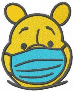 Winnie in mask embroidery design