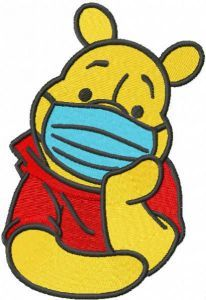Winnie pooh in mask embroidery design