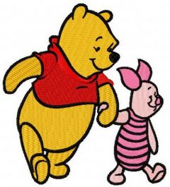Winnie the Pooh and Piglet best friends embroidery design