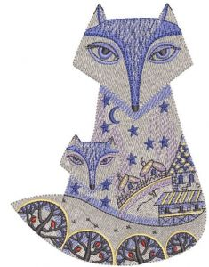 Winter patterned fox family embroidery design
