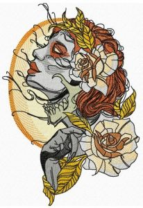 Witch and full moon embroidery design