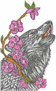 Wolf and branch with flowers embroidery design