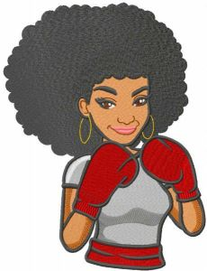 Woman boxer embroidery design