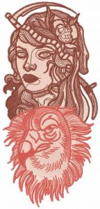 Woman eagle gothic embroidery design