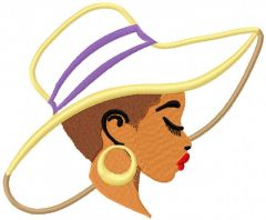 Woman in summer hat applique embroidery design
