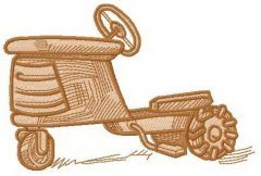 Wooden tractor machine embroidery design