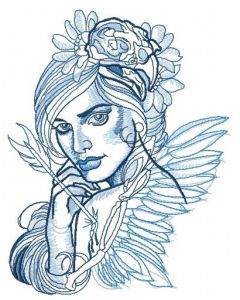 Wounded fairy embroidery design