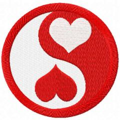 Ying yang heart free embroidery design