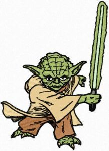 Yoda Attack embroidery design