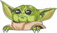 Yoda in pocket embroidery design
